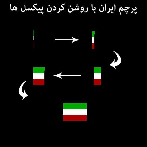 سورس رسم پرچم ایران (روشن کردن پیکسل ها)